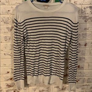 Ivory and navy striped sweater